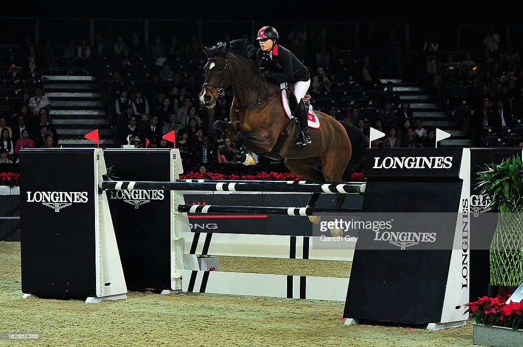 Raena Leung of Hong Kong rides Arsalla at the Longines Speed Challenge during the Furusiyya FEI Nations Cup on February 28, 2013 in Hong Kong.