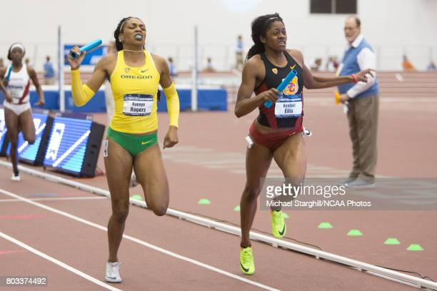 Raevyn Rogers of Oregon and Kendall Ellis of Southern California compete in the women's 4x400 meter relay during the Division I Men's and Women's...