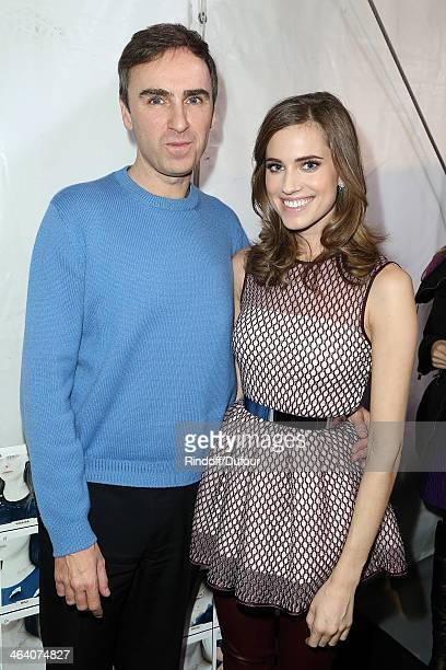 Raf Simons and Allison Williams backstage after the Christian Dior show as part of Paris Fashion Week Haute Couture Spring/Summer 2014 on January 20...