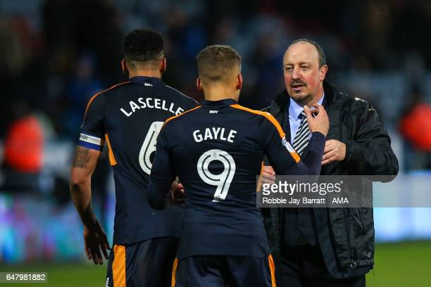 Rafa Benitez head coach / manager of Newcastle United acknowledges Dwight Gayle of Newcastle United at full time during the Sky Bet Championship...