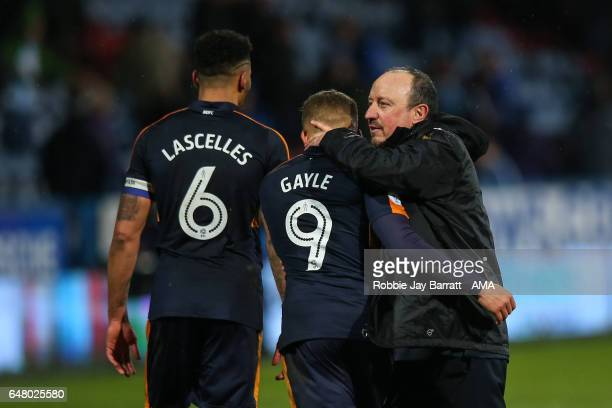 Rafa Benitez head coach / manager of Newcastle United and Dwight Gayle of Newcastle United at full time during the Sky Bet Championship match between...