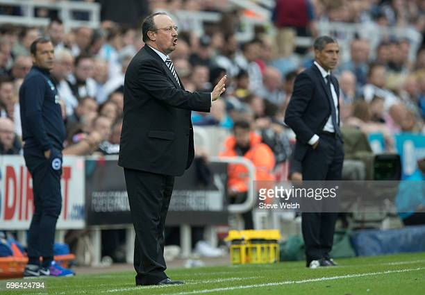 Rafa Benitez manager of Newcastle during the Premier League match between Newcastle United and Brighton Hove Albion on August 27 2016 in Newcastle