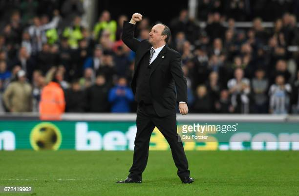 Rafa Benitez manager of Newcastle United celebrates victory and promotion after the Sky Bet Championship match between Newcastle United and Preston...