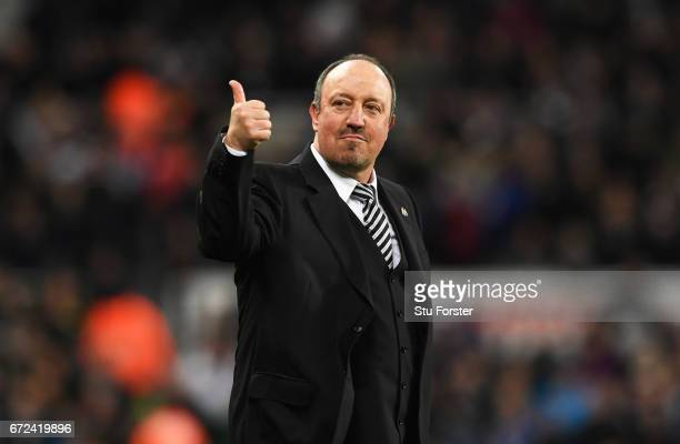 Rafa Benitez manager of Newcastle United gives a thumbs up as he celebrates victory and promotion after the Sky Bet Championship match between...