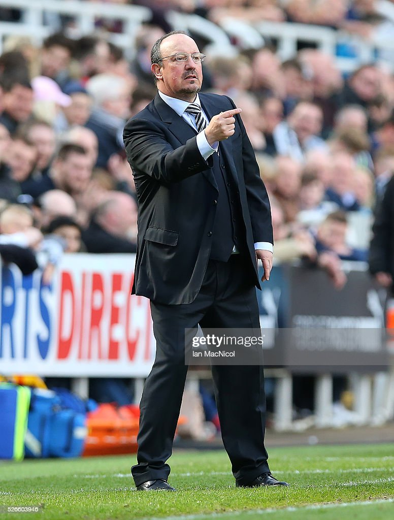 Rafa Benitez Newcastle United's manager reacts during the Barclays Premier League match between Newcastle United and Crystal Palace at St James Park on April 30, 2016 in Newcastle, England.