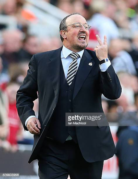 Rafa Benitez Newcastle United's manager reacts during the Barclays Premier League match between Newcastle United and Crystal Palace at St James Park...