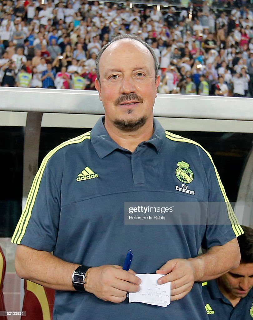 Rafa Benitez of Real Madrid C.F looks on during the International Champions Cup China match between Real Madrid and Inter Milan at the Tianhe Stadium on July 27, 2015 in Guangzhou, China.