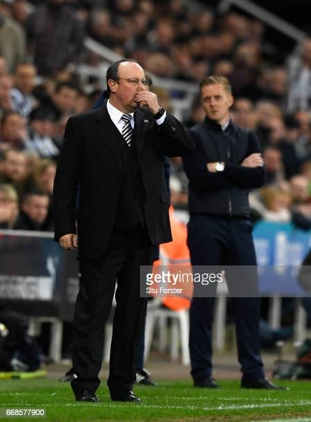 Rafa Benitez reacts during the Sky Bet Championship match between Newcastle United and Leeds United at St James' Park on April 14 2017 in Newcastle...