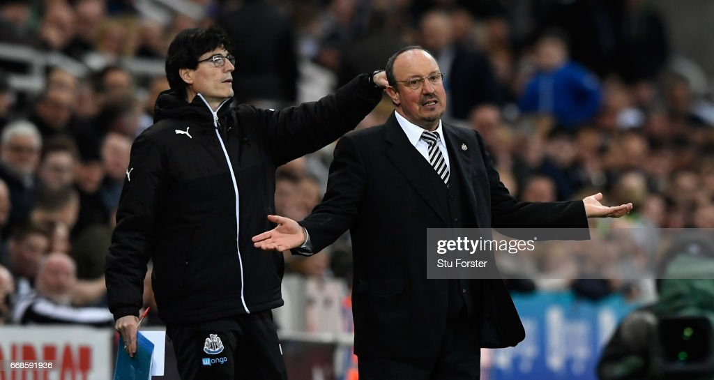 Rafa Benitez reacts during the Sky Bet Championship match between Newcastle United and Leeds United at St James' Park on April 14, 2017 in Newcastle upon Tyne, England.