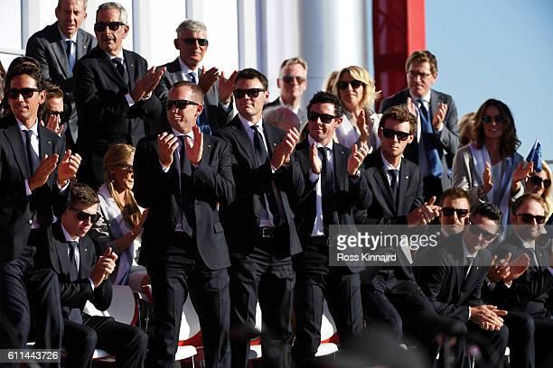 Rafa Cabrera Bello Matt Fitzpatrick Sergio Garcia Martin Kaymer Rory McIlroy Thomas Pieters Justin Rose Henrik Stenson and Andy Sullivan of Europe...