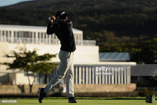 Rafa Cabrera Bello of Spain hits his tee shot on the 10th hole during the second round of the CJ Cup at Nine Bridges on October 20 2017 in Jeju South...