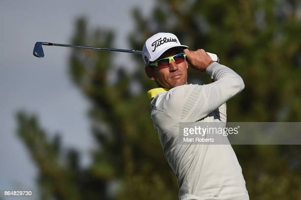 Rafa Cabrera Bello of Spain hits his tee shot on the 4th hole during the final round of the CJ Cup at Nine Bridges on October 22 2017 in Jeju South...