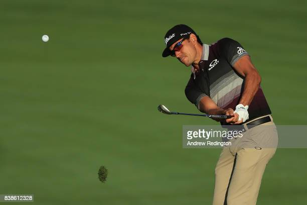 Rafa Cabrera Bello of Spain plays a shot on the tenth hole during round one of The Northern Trust at Glen Oaks Club on August 24 2017 in Westbury New...