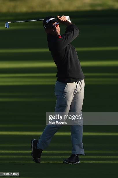 Rafa Cabrera Bello of Spain plays his second shot on the 10th hole during the second round of the CJ Cup at Nine Bridges on October 20 2017 in Jeju...