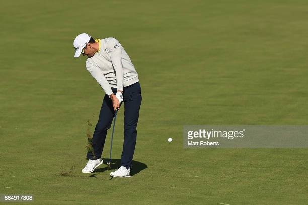 Rafa Cabrera Bello of Spain plays his second shot on the 4th hole during the final round of the CJ Cup at Nine Bridges on October 22 2017 in Jeju...