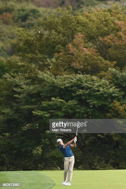 Rafa Cabrera Bello of Spain plays his second shot on the 6th hole during the first round of the CJ Cup at Nine Bridges on October 19 2017 in Jeju...