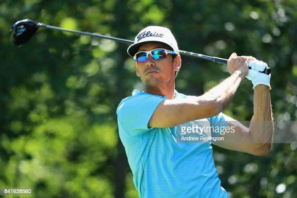 Rafa Cabrera Bello of Spain plays his shot from the second tee during round one of the Dell Technologies Championship at TPC Boston on September 1...