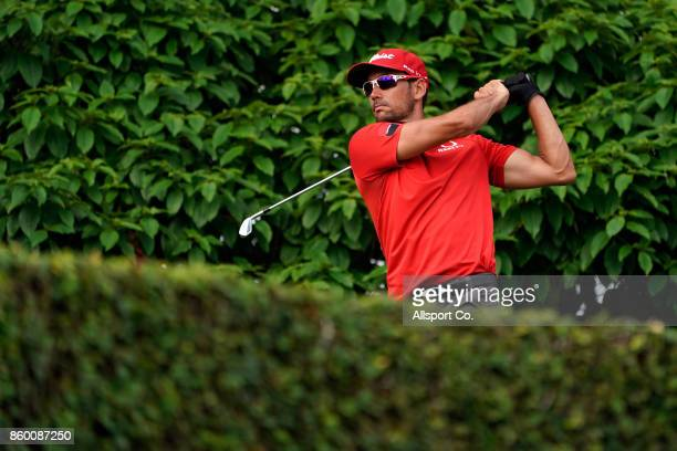 Rafa Cabrera Bello of Spain plays his shot on the 11th hole during the Pro Am ahead of the 2017 CIMB Classic at TPC Kuala Lumpur on October 11 2017...