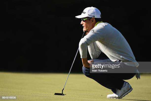 Rafa Cabrera Bello of Spain prepares to putt during the final round of the CJ Cup at Nine Bridges on October 22 2017 in Jeju South Korea