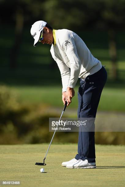 Rafa Cabrera Bello of Spain putts during the final round of the CJ Cup at Nine Bridges on October 22 2017 in Jeju South Korea