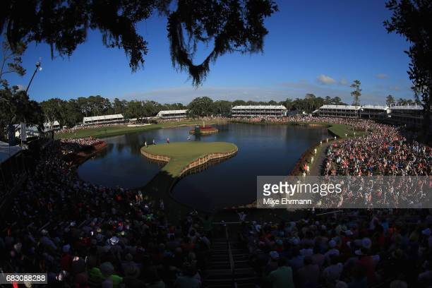 Rafa Cabrera Bello of Spain putts on the 17th green during the final round of THE PLAYERS Championship at the Stadium course at TPC Sawgrass on May...
