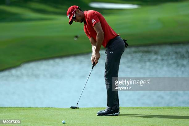 Rafa Cabrera Bello of Spain putts on the 9th hole during the Pro Am ahead of the 2017 CIMB Classic at TPC Kuala Lumpur on October 11 2017 in Kuala...
