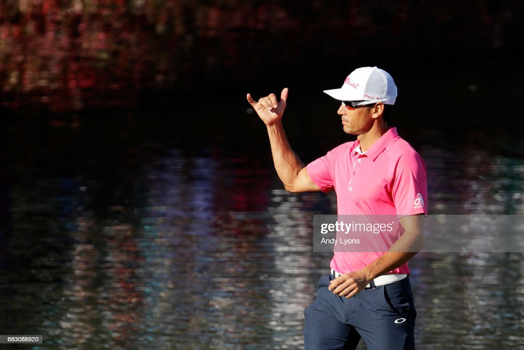 Rafa Cabrera Bello of Spain reacts to his birdie on the 17th green during the final round of THE PLAYERS Championship at the Stadium course at TPC Sawgrass on May 14, 2017 in Ponte Vedra Beach, Florida.