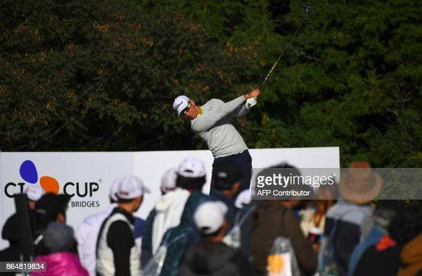 Rafa Cabrera Bello of Spain tees off on the 3rd hole during the final round of the CJ Cup at Nine Bridges in Jeju Island on October 22 2017 / AFP...