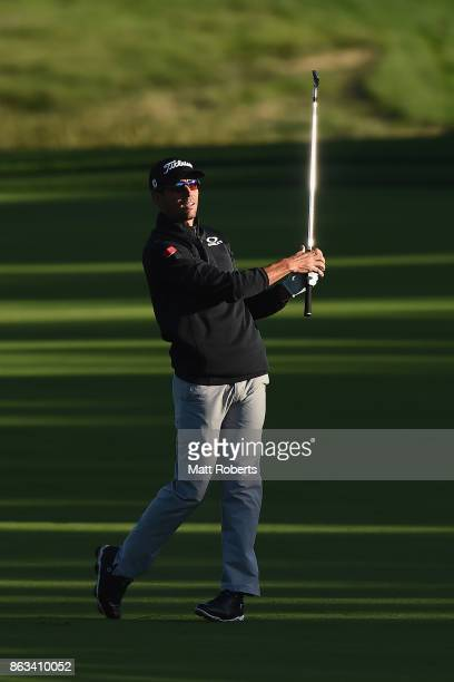 Rafa Cabrera Bello of Spain watches his second shot on the 10th hole during the second round of the CJ Cup at Nine Bridges on October 20 2017 in Jeju...