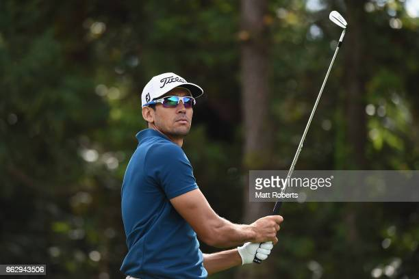 Rafa Cabrera Bello of Spain watches his tee shot on the 7th hole during the first round of the CJ Cup at Nine Bridges on October 19 2017 in Jeju...