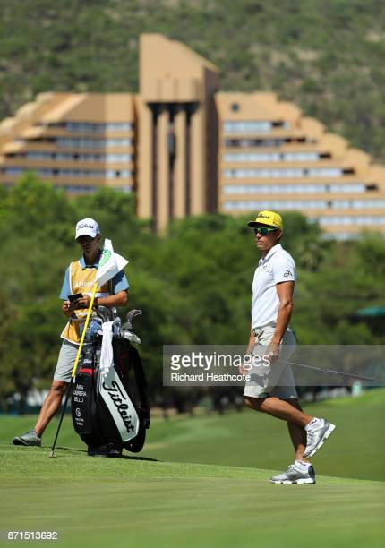 Rafa Cabrera Bello of Spain with his caddy Colin Bryne ahead of the 2017 Nedbank Golf challenge at Gary Player CC on November 07 2017 in Sun City...