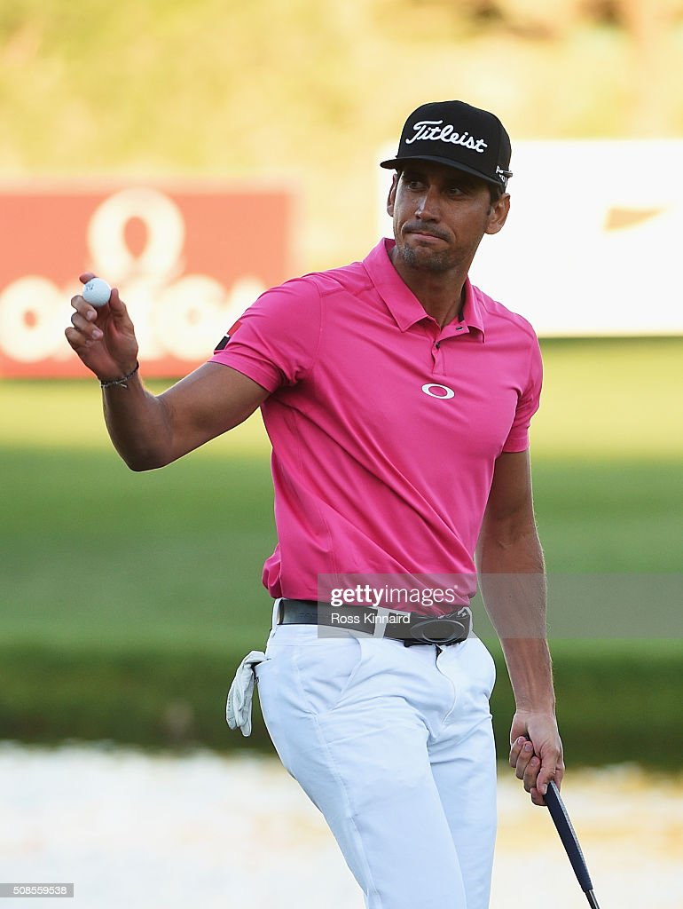 Rafa CabreraBello of Spain acknowledges the crowd after his birdie on the 18th hole during the second round of the Omega Dubai Desert Classic at the...