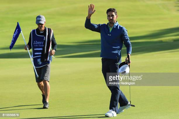 Rafa CabreraBello of Spain acknowledges the crowd on the 18th green during the final round of the AAM Scottish Open at Dundonald Links Golf Course on...