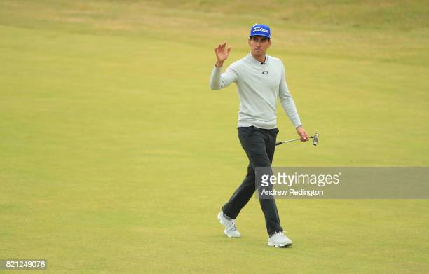 Rafa CabreraBello of Spain acknowledges the crowd on the 18th hole during the final round of the 146th Open Championship at Royal Birkdale on July 23...