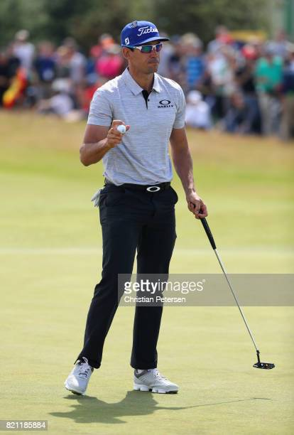 Rafa CabreraBello of Spain acknowledges the crowd on the 1st green during the final round of the 146th Open Championship at Royal Birkdale on July 23...