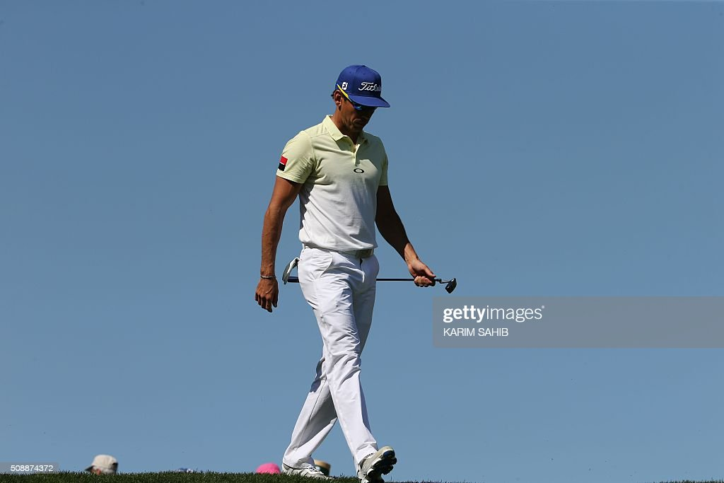 Rafa Cabrera-Bello of Spain attends the final round of the 2016 Dubai Desert Classic at the Emirates Golf Club in Dubai on February 7, 2016. SAHIB