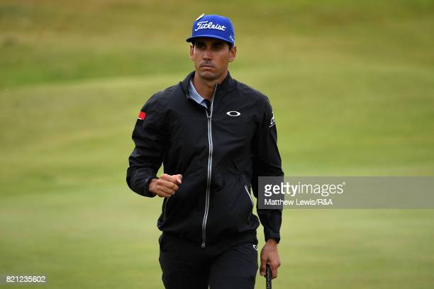 Rafa CabreraBello of Spain celebrates a birdie on the 13th hole during the final round of the 146th Open Championship at Royal Birkdale on July 23...