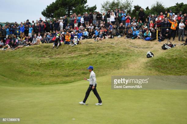 Rafa CabreraBello of Spain celebrates a birdie on the 17th hole during the final round of the 146th Open Championship at Royal Birkdale on July 23...