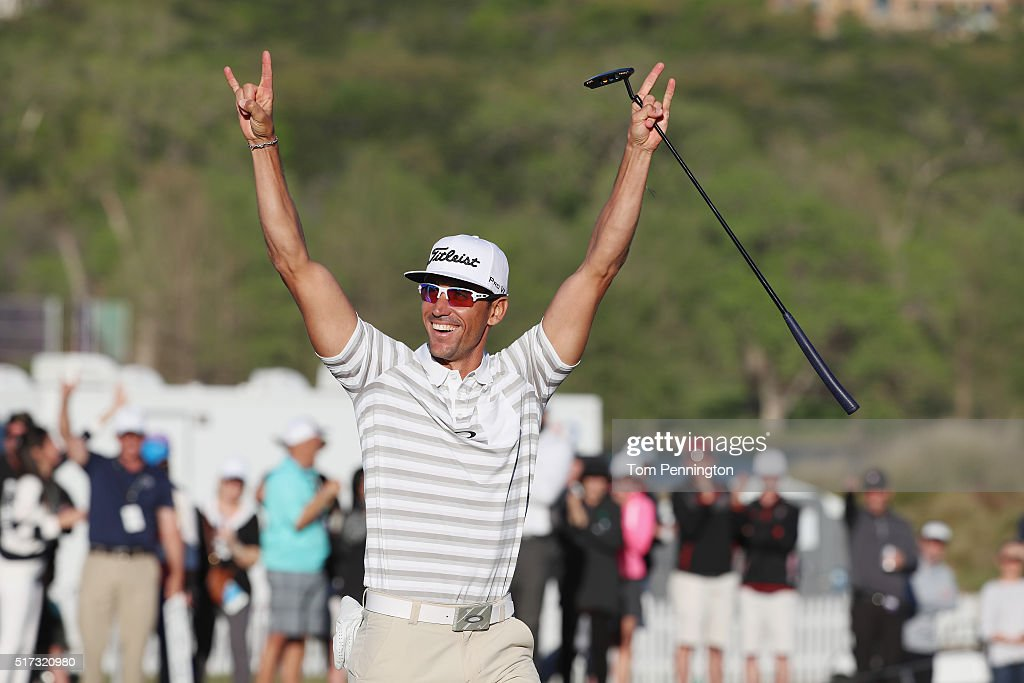 Rafa CabreraBello of Spain celebrates a long birdie putt on the 15th green during the second round of the World Golf ChampionshipsDell Match Play at...