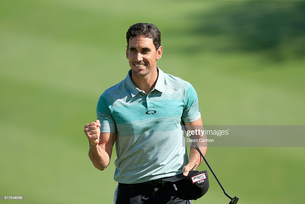 Rafa CabreraBello of Spain celebrates going through to last 16 after he had halved his match on the 18th green with Soren Kjeldsen during the third...