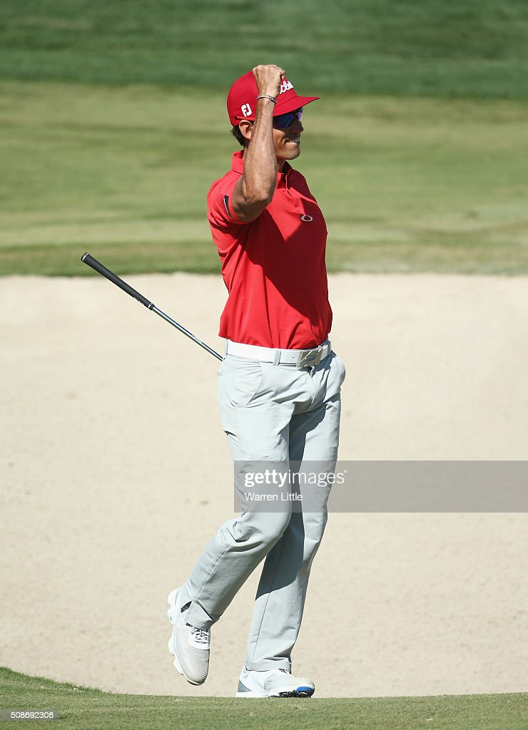 Rafa Cabrera-Bello of Spain celebrates holing his bunker shot for eagle on the 3rd hole during the third round of the Omega Dubai Desert Classic at the Emirates Golf Club on February 6, 2016 in Dubai, United Arab Emirates.