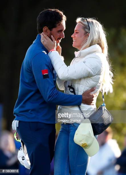 Rafa CabreraBello of Spain celebrates victory on the 1st play off hole with girlfriend Sofia Lundstedt during the final round of the AAM Scottish...