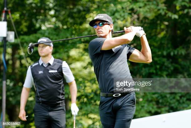Rafa CabreraBello of Spain drives from the 9th tee during the second round of the Dell Technologies Championship on September 2 at TPC Boston in...