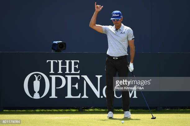 Rafa CabreraBello of Spain gestures on the 1st tee during the final round of the 146th Open Championship at Royal Birkdale on July 23 2017 in...
