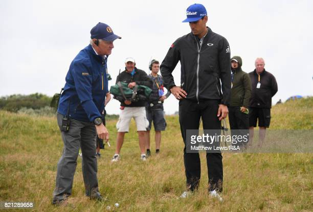 Rafa CabreraBello of Spain gets a ruling on the 15th hole during the final round of the 146th Open Championship at Royal Birkdale on July 23 2017 in...