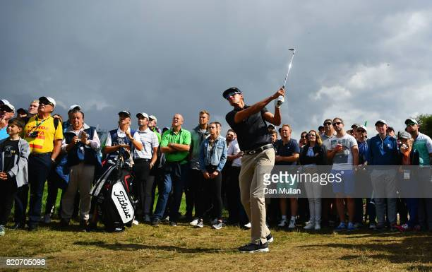 Rafa CabreraBello of Spain hits a chip shot from the rough during the third round of the 146th Open Championship at Royal Birkdale on July 22 2017 in...