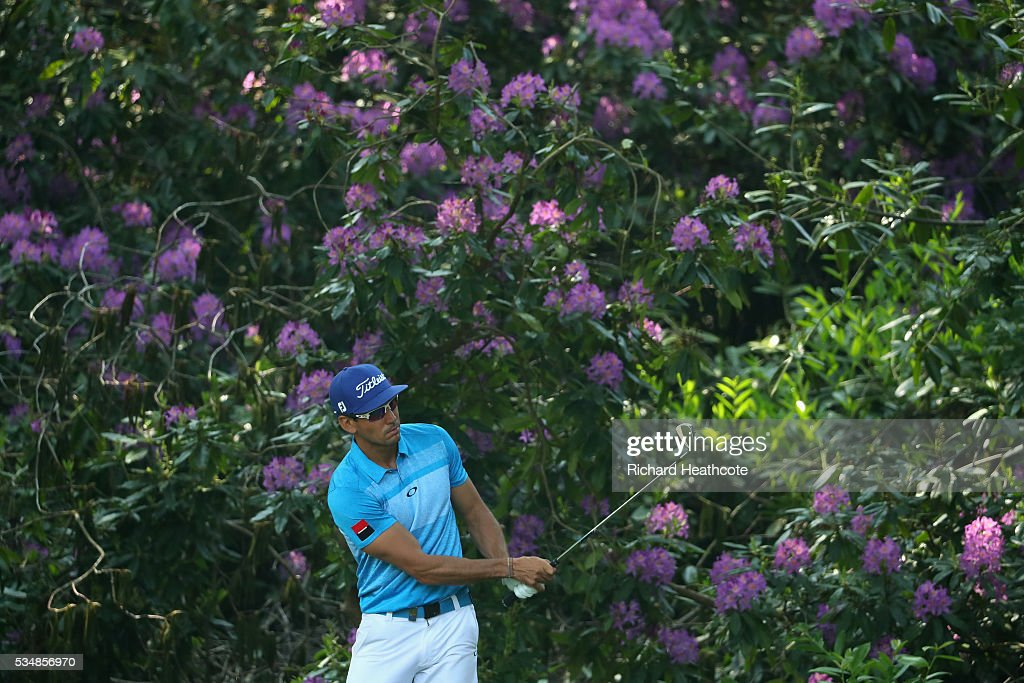Rafa Cabrera-Bello of Spain hits an approach on the 16th hole during day three of the BMW PGA Championship at Wentworth on May 28, 2016 in Virginia Water, England.