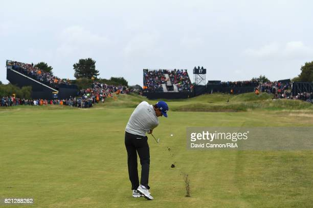 Rafa CabreraBello of Spain hits an approach shot during the final round of the 146th Open Championship at Royal Birkdale on July 23 2017 in Southport...