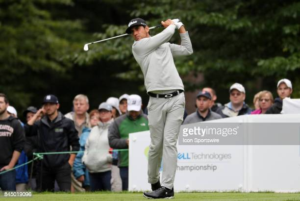 Rafa CabreraBello of Spain hits from the 1st tee during the third round of the Dell Technologies Championship on September 3 at TPC Boston in Norton...