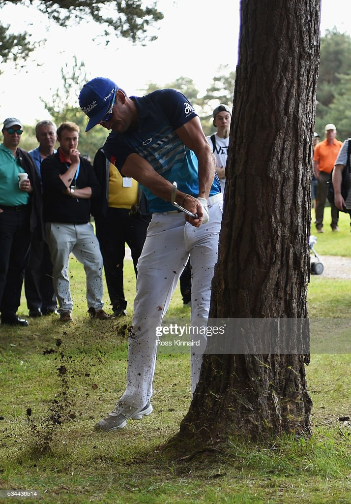 Rafa CabreraBello of Spain hits his 2nd shot on the 13th hole during day one of the BMW PGA Championship at Wentworth on May 26 2016 in Virginia...